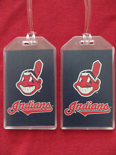 CLEVELAND INDIANS CHIEF WAHOO MLB LUGGAGE TAGS - SET OF 2 - BAG NAME ID TRAVEL