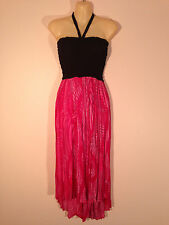 Women's One Size Pink Dress with Black Fitted Bodice & Asymmetrical Hem