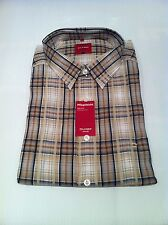 BNWT OLYMP Short Sleeved Shirt In Light Brown Check Size XXL