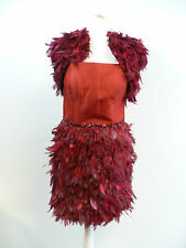 Carla Ruiz Red Feather Dress and Jacket Set - Size 8 - Box6221 C