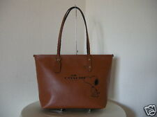 Authentic Coach F37273 Snoopy City Zip Women Tote Brown