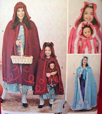 """Simplicity 1348 CAPE Adult Xs-Xlg / Child 3-8 / Doll 18"""" Costume Sewing Pattern"""