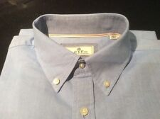 CTF Shirt L USA 42 Blue Single Cuff Cortefiel Cotton Pocket  Button Collar