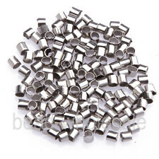 500 Pcs Metal Crimps Stopper End Beads Jewelry Findings - Dark Silver Plated