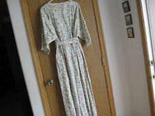 LONG COTTON DRESS CUSTOM MADE BANGKOK CAFTAN STYLE SEE MEASURES X-LG TINY FLORAL