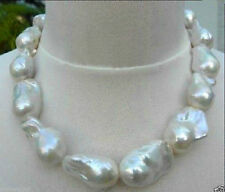 """REAL HUGE AAA SOUTH SEA WHITE BAROQUE PEARL NECKLACE 18"""" 14K"""