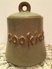 Vintage McCoy Pottery USA Green Speckled Bell Cookie Jar With Gold Mid Century