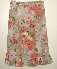 Alfred Dunner Woman Pink Sage Tan Floral Print A-Line 20W  Ruffle Comfort Waist