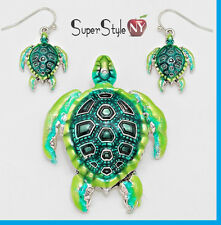 "+ 23"" Long Chain Green Ocean Sea Turtle Pendant Necklace Earrings Shell"