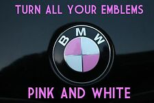 TURN YOUR BMW EMBLEM PINK & WHITE - BMW Colored Emblem Roundel Overlay