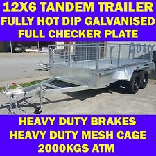 12x6 galvanised trailer tandem trailer w cage heavy duty brakes 2000kg also 10x6