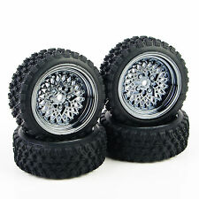 For 1:10 HSP HPI RC Off Road Car 4Pcs Rubber Rally Tyre Tires Wheel Rim #344