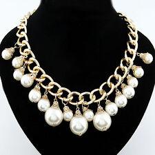 Perlen Halskette Collier Statement Kette Gold XL Perle Braut Blogger Neu