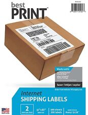 "Best Print ® 1000 Labels Half Sheet 8.5 x 5"" For Click & Ship, UPS Paypal"