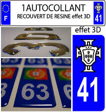 1 sticker plaque immatriculation AUTO TUNING 3D RESINE  FPF PORTUGAL DEPA 41