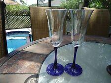 Cobalt Blue Stem Flute glasses-Set of 2