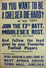 WW1 RECRUITING POSTER CHELSEA DIEHARDS 17TH BN MIDDLESEX REGT NEW A4 PRINT