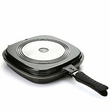 Cook's Companion Cast Aluminum Ceramic Nonstick Triple Flip Pan Black