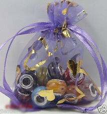 25Pc Practical Purple Wedding Favor Bags Organza Jewelry Packing Pouch 9x7cm