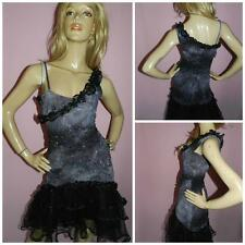 VINTAGE 90s GREY BLACK SPARKLY NET TULLE TRASHY CLUBBING DRESS 10 S 1990s