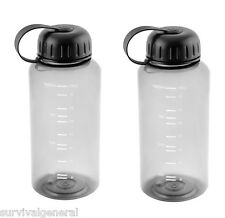 (2) Water BOTTLES  WIDE MOUTH 34 OZ BPA FREE HIKING, RUNNING EXERCISE Survival