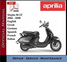 Aprilia Mojito 50 2T 2004 - 2008 Workshop Service Repair Manual +Parts Catalogue