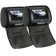"2 x Universal Multi-media DVD Player Black Car Headrest Dual Twin Monitor 7"" HD"