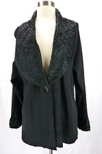 Laura Ashley 2X Womens Plus Black Rayon Ribbon Embroidered Cardigan Sweater