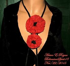 ARTURO E.REYNA AWESOME RED POPPY FLOWERS LEATHER SIGNED BOLO TIE STYLE NECKLACE
