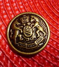 Ancien Bouton de Livrée Blason Héraldiques Couronne au Lion & Cheval Old Button