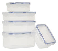 Lock & Lock 5 Rectangular Storage Containers Box Clip Lid Plastic BPA Free New