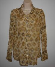 J. CREW Bronzed Leopard Perfect Shirt Size 6 32305 Cotton Silk Animal Blouse Top