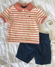 NWT Nautica Baby Boys Polo Shirt & Cargo Shorts Set Blue Sz 0/3 M SO CUTE!