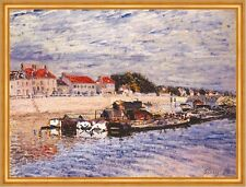 Barges on the Loing at Saint-Mammes Alfred Sisley Frankreich Fluß B A1 00409