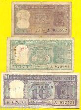 P.C. BHATTACHERYA / L.K. JHA SET OF 10 + 5 + 2 Rs, 3 NOTES SET, DIAMOND ISSUE