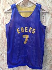 retro reversible mesh basketball jersey. ebees yellow blue vintage felt letters