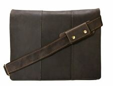 "Visconti 16019 Extra Large Oil Brown Leather Messenger Bag Holds up 17 "" Laptop"