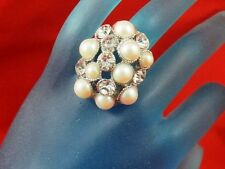 07:New FREE SPIRIT Stretchy NICE Ladies Ring from USA with Pearls