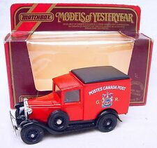 """Matchbox MODELS OF YESTERYEAR 1:40 FORD MODEL A Car """"POSTES CANADA"""" POST MIB`84!"""