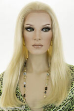 Long Human Hair Blend Lace Front Heat-OK Blonde Brunette Red Straight Wigs