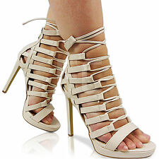 NEW LADIES STILETTO HIGH HEEL PLATFORM CUT OUT OPEN TOE LACE UP SHOES PARTY SIZE