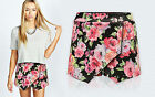 Women Ladies Floral Skorts Shorts Skirt Print Culottes Irregular Flanging Wrap