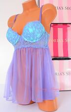 NWT Victoria's Secret Lingerie Bustier Fly-away Lace Babydoll Push-up 34C Blue