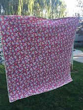 VINTAGE 1940'S ERA RED FLORAL WHOLE CLOTH QUILT COMFORTER