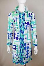 Vtg 1960's EMILIO PUCCI PsYcHeDeLiC MoD DiAMonD Button Up Dress Robe Jacket