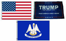 3x5 Trump #1 & USA American & State of Louisiana Wholesale Set Flag 3'x5'