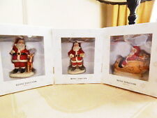 ROYAL DOULTON SANTA and SACK REINDEER SLEIGH CHRISTMAS ORNAMENTS Set/3  NEW/BOX!