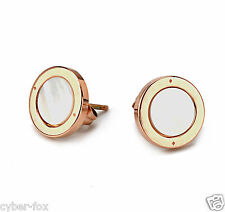 14K Rose Gold Plated Big Round White Shell Stainless Steel Womens Stud Earrings