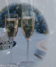 Wedding Reception Party Bride Groom Stem Double Hearts Etched Toasting Glasses