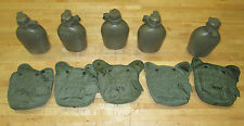 (5) US MILITARY 1 QT CANTEENS, OLIVE GREEN VARIETY COVERS ~GENTLY USED~